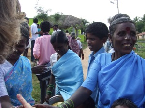 Welcoming us to the Minijenahalli village